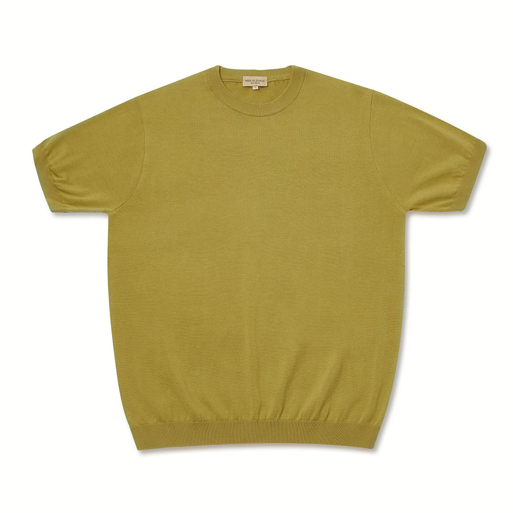 [맨인정글] Piccola Plain Crew neck Knit - Pistachio Green