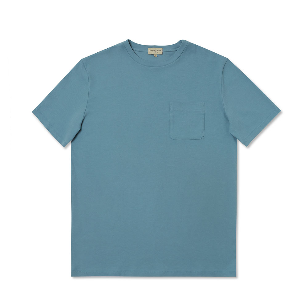 [맨인정글] Pino Crew-neck Pocket T-Shirt - Light Blue