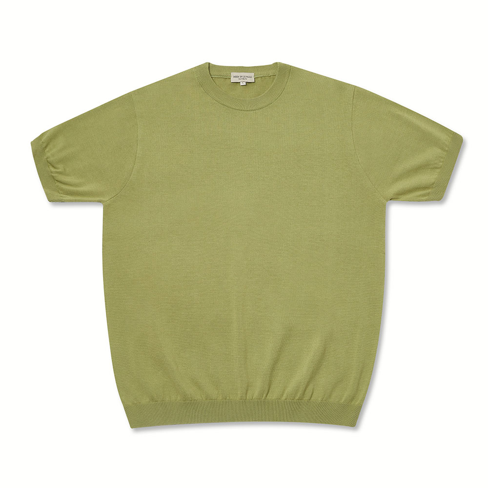 [맨인정글] Piccola Plain Crew neck Knit - Lettuce Green