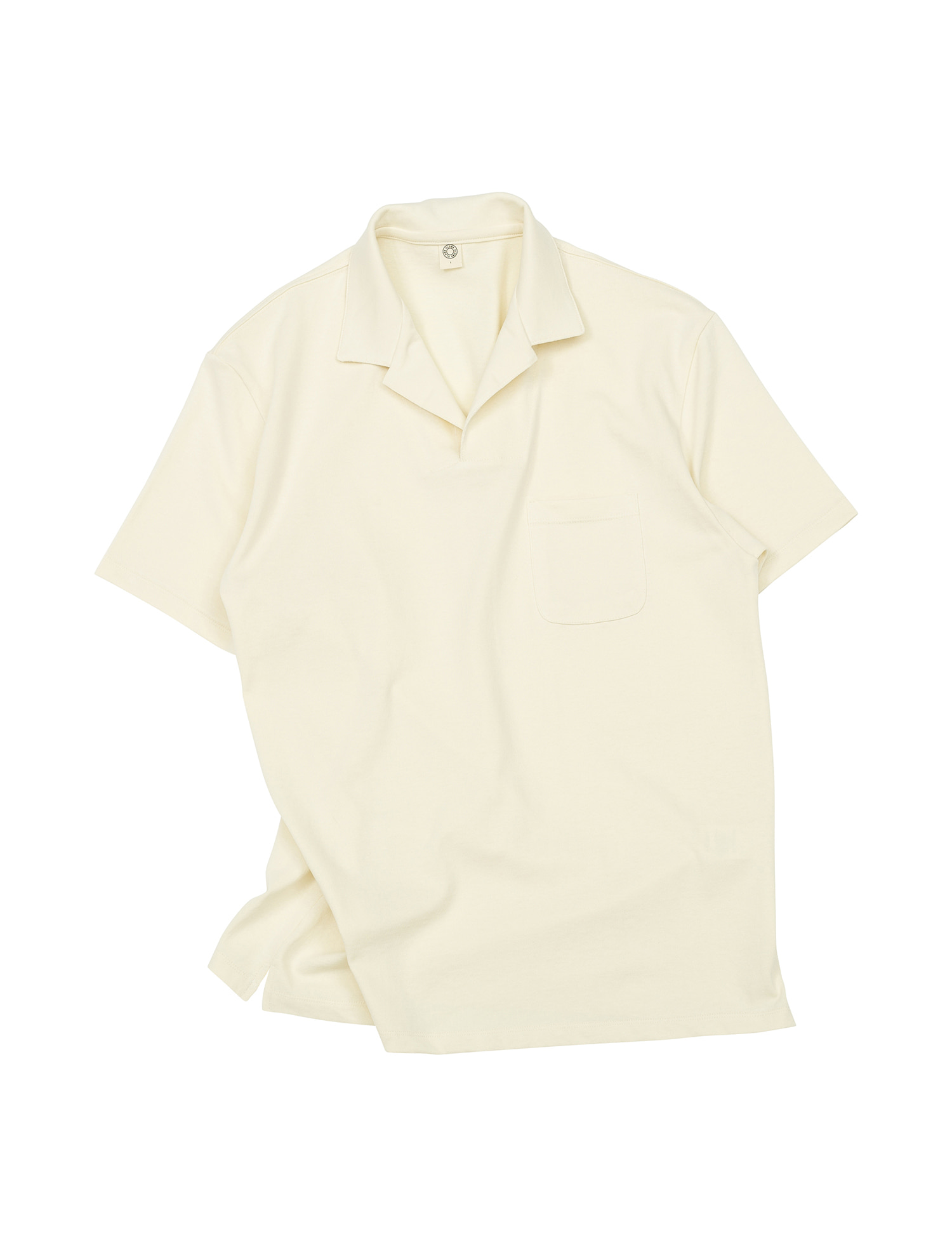 [올드비]  GEN COTTON OPEN COLLAR POLO SHIRT ECRU